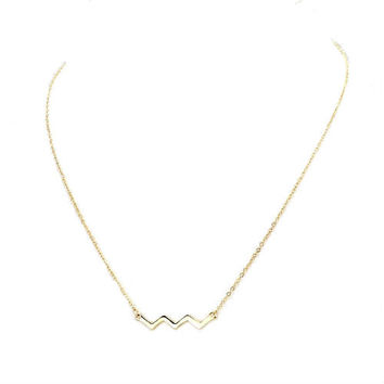 Dainty Tiny Thin Gold Chevron Bar Pendant Layering Necklace