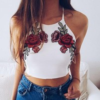 Fashion Women Summer Vest Top Sleeveless Embroidery Camis Casual Tops Women New Clotehs Camis