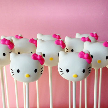 12 White Cat Cake Pops - for birthday party favor, baby shower, cake topper, pink glam, red bow, sanrio, kawaii, kitten, cat, teacher gift