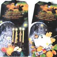 Gothic Halloween Collage Style Gift Tags Set Of 6 Tombstones Black Cats Candles Pumpkins Ghosts