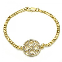 Gold Layered 03.94.0003.08 Fancy Bracelet, Heart Design, with White Micro Pave, Polished Finish, Golden Tone