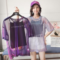 Transparent Holographic Mesh Sheer Loose T-Shirt