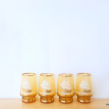 Mid-Century Bar-ware Gold Amber Glasses Embossed Tall Ships 1950s Large Shoot Glass Fathers Day