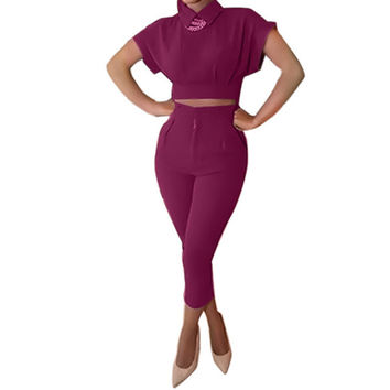 2016 New Fashion Two pieces outfits corp top Shirt collar Casual Rompers Jumpsuits Womens Bodysuits 2 pieces Jumpsuits For Women