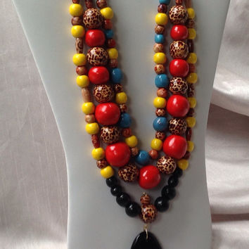 Beautiful African Colorful Jewelry Necklace,  handmade Polymer Clay, hand painted 18K Gold wood beads, Strung with Leather