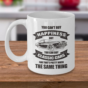 Classic Cars Coffee Mug 11oz White Ceramic Cup, Classic Car Gift, Gift for Vintage Car Owners, Vintage Vehicle, Antique Cars Gift
