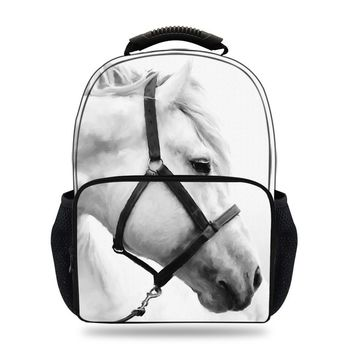 15inch Children White Horse Backpack for Men School Backpack Girls & Boys 3D Animals Zebra Pattern Backpacks Teenagers Women