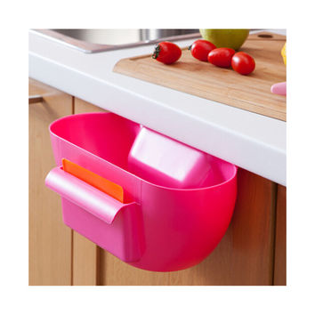 Factory direct the latest strange new kitchen gadget kitchen trash can hang plastic storage box storage box PINK