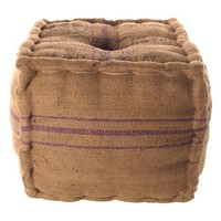 Recycled Burlap Cube Ottoman with Stripes