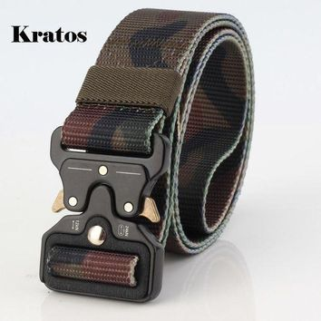 CREYLD1 Outdoor camouflage Tactical Belt Men Wear-resisting Non-slip Breathable Military Quick Dry Nylon Webbing Heavy Duty Belt 3.8 CM