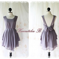 A Party - V Shape Style - Prom Party Cocktail Bridesmaid Dinner Wedding Night Dress Soft Charcoal Gray Sweet Gorgeous Glamorous Dress