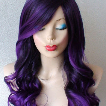 Deep purple Ombre wig. Long volume curly hair with bangs wig.  Durable Heat resistant Synthetic wig for Daily use or Cosplay