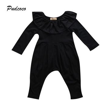 Black Newborn Baby Girl Romper 2017 Princess Kids Girls Long Sleeve Cape Collar Toddler Kids Jumpsuit Playsuit Outfit Clothing