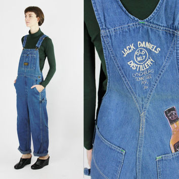 vtg jack daniels overalls bib overalls size 36 waist novelty collectible clothing