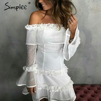 Simplee Off shoulder ruffle lace dress women Sexy hollow out mini dress party Spring Backless summer style white dress vestidos