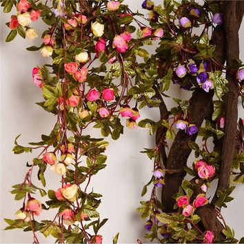 Wall Hanging Artificial Silk Rose Flowers Rattan Vines Plant Arches Decor