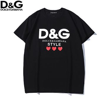 Dolce & Gabbana 2018 new heart-shaped printed logo loose round neck short-sleeved T-shirt Black