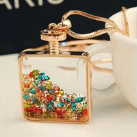 Summer Style Charms Floating Locket Rhinestone Beads Crystal Necklace & Pendants Long Chain Statement Pendant Necklace