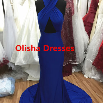 Real Royal Blue Mermaid Prom Dresses 2016 Pleated Spandex Halter Criss-Cross Sexy Prom Gowns Backless vestido de festa