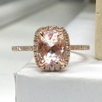 Morganite Diamond Ring in 14K Rose Gold!6x8mm Oval Cut Morganite Halo Cushion Shape Engagement Ring,Claw Prongs,Wedding Bridal Fine Ring