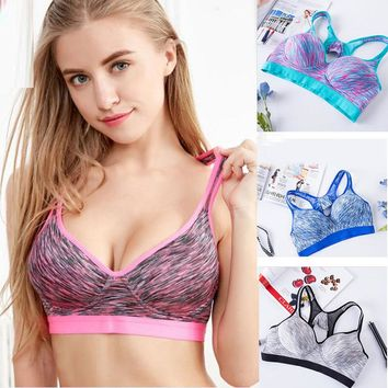 Plis Size Fitness Push Up Sports Bra Padded Seamless  Top Yoga Bras high impact adjustable straps