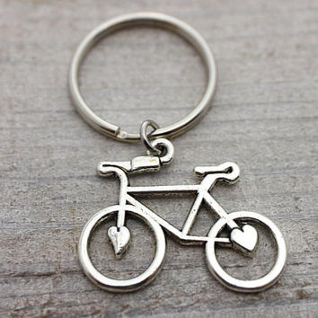 Heart bicycle antique silver key ring