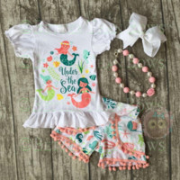 RTS-4pc Mermaid Outfit for Girls, Girls Summer Outfit, Chunky Necklace, Hair Bow