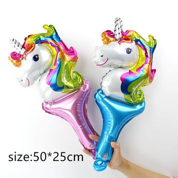50pcs Handheld Unicorn Balloon Cheering Stick Aluminum Foil  Balloons For Birthday Party Inflatable Balls Decoration kids toys