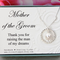 Gift for Mother of the Groom from Bride necklace Thank you for raising the man of my dreams, wedding party gift