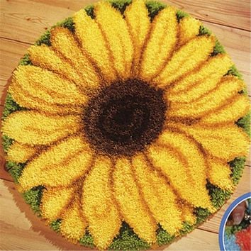 USA shipping Latch Hook Kit Rug Cushion Pillow Mat DIY Craft Sunflower 52CM by 52CM Crocheting Rug Embroidery ZD039
