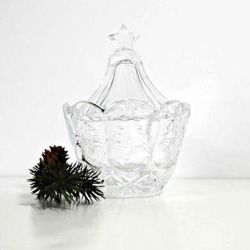 Pressed Glass Crystal Christmas Tree Candy Dish - (#100.9)