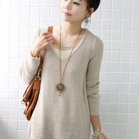 Sloping Lap Pull Over Solid Color Sweaters Apricot  : Wholesaleclothing4u.com