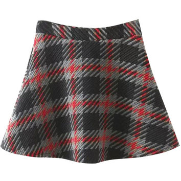 Tartan Plaid High Waist A-Line Skirt