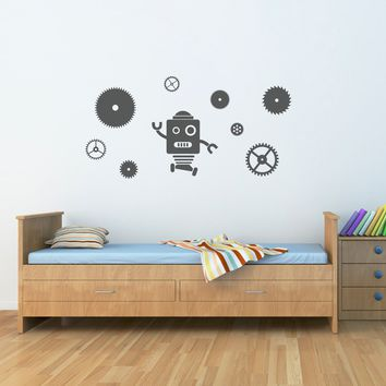 Robot & Gears Decal Set - Robot Wall Decal - Gears Wall Stickers - Boy Bedroom Decor - Large