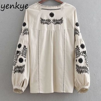 Women Vintage Beige Embroidery Jacket Lady Tassel Lace Up O Neck Lantern Sleeve Plus Size Jacket Autumn Outerwear chaqueta mujer