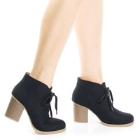 #Ripley Black Linen by Soda, Black Linen Women's Chunky High Block Heel Booties, Lace Up Round Toe Fashion Ankle boots