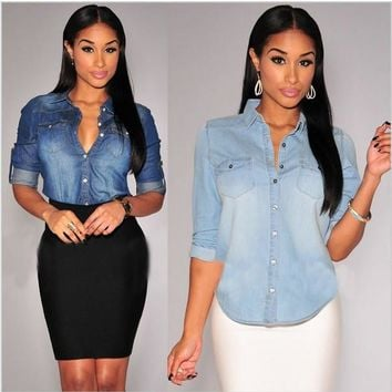 Turn-down Collar Casual Women Polo Shirts Cropped Jeans Plus Size Cowboy Girl Shirt Po