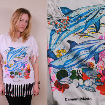Vintage - 80s/90s - Neon - Cancun Mexico - Souvenir - Novelty - Dolphins - Fish - Reef - Beaded Fringe - Pony Beads - White - Long T Shirt