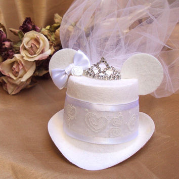 Mouse Ears Bridal Mini Top Hat Fascinator with Veil For Your Disney Wedding