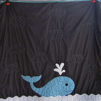 Baby quilt - Boy - Whale - Nautical - Ocean - Bedding - Blanket - Homemade - New baby - Infant