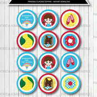 Printable Cupcake Toppers, Wizard of Oz,Dorthy,Ruby Shoes,Yellow brick road, Over the Rainbow, Birthday, Decorations, DIY,  INSTANT DOWNLOAD