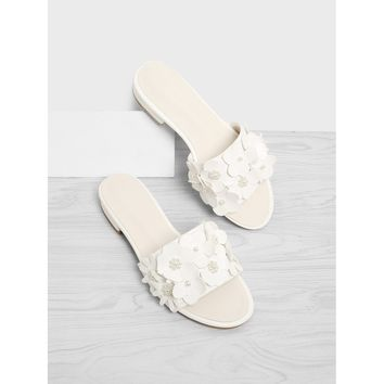 Flower Decorated PU Flat Sliders