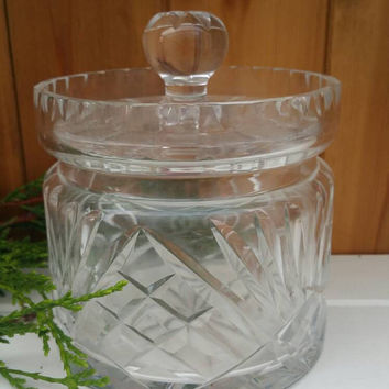 Crystal cut glass storage jar biscuit barrel inset lid heavy high quality item 7 inches tall ships worldwide from UK