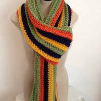 READY TO SHIP. Extra Long Crochet Multicolored Scarf. Girls and Women's Fashion Scarf. All Seasons Fashion Scarf.