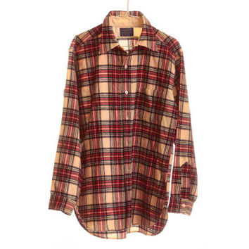 VINTAGE PENDLETON 100% Pure Virgin Wool Single Pocket Flannel Shirt Size Large 1960s - 1970s