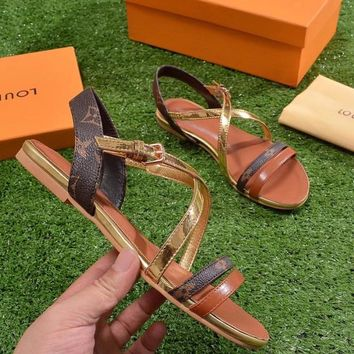 LV Sandals Women ''Louis Vuitton'' Slippers LV Fashionable casual Shoes B-ALS-XZ Gold