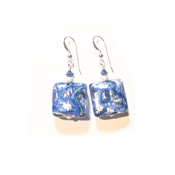 Murano Glass Cobalt Blue Chunky Square Silver Earrings