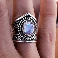 Rainbow Moonstone Ring, Boho Jewelry, Moon, Gypsy Chevron, Statement Jewellery, Solid 925 Sterling Silver, Oval Gemstone, Rainbow, Purple