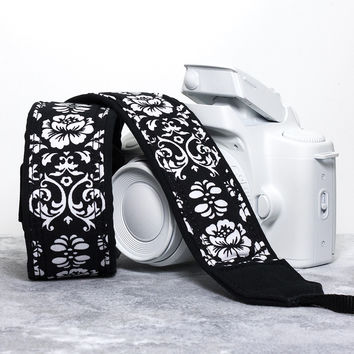 Damask Camera Strap in Black and White Floral 21