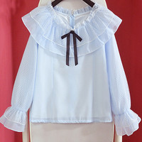 Baby blue delicate kawaii blouse with bell sleeves
